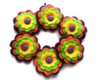 Halloween Felt Flowers, Scrapbook Embellishments, Black Orange Yellow Card Supplies, Set of 6
