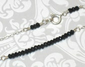 Tiny Faceted Black Spinel Gemstone Bar on Sterling Silver Chain Necklace
