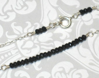 Gemstone Bar Necklace - Tiny Faceted Black Spinel on Sterling Silver Chain Necklace