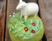 Mini Sheep on a Meadow - Needle Felted Pincushion with Red Flowers