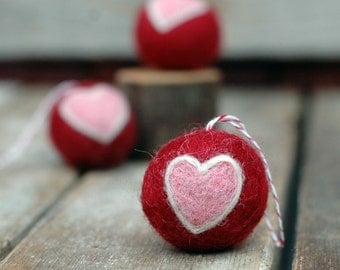 Heart Ornament - Felted Valentine Love