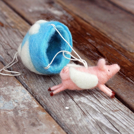 Parachuting Flying Pig Mobile - Needle Felted Whimsy for Nursery or Office