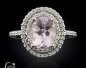 Morganite Engagement Ring - Oval Morganite Ring, Pink Morganite Engagement Ring, Morganite Halo Ring, Diamond Halo Engagement Ring  - LS1499
