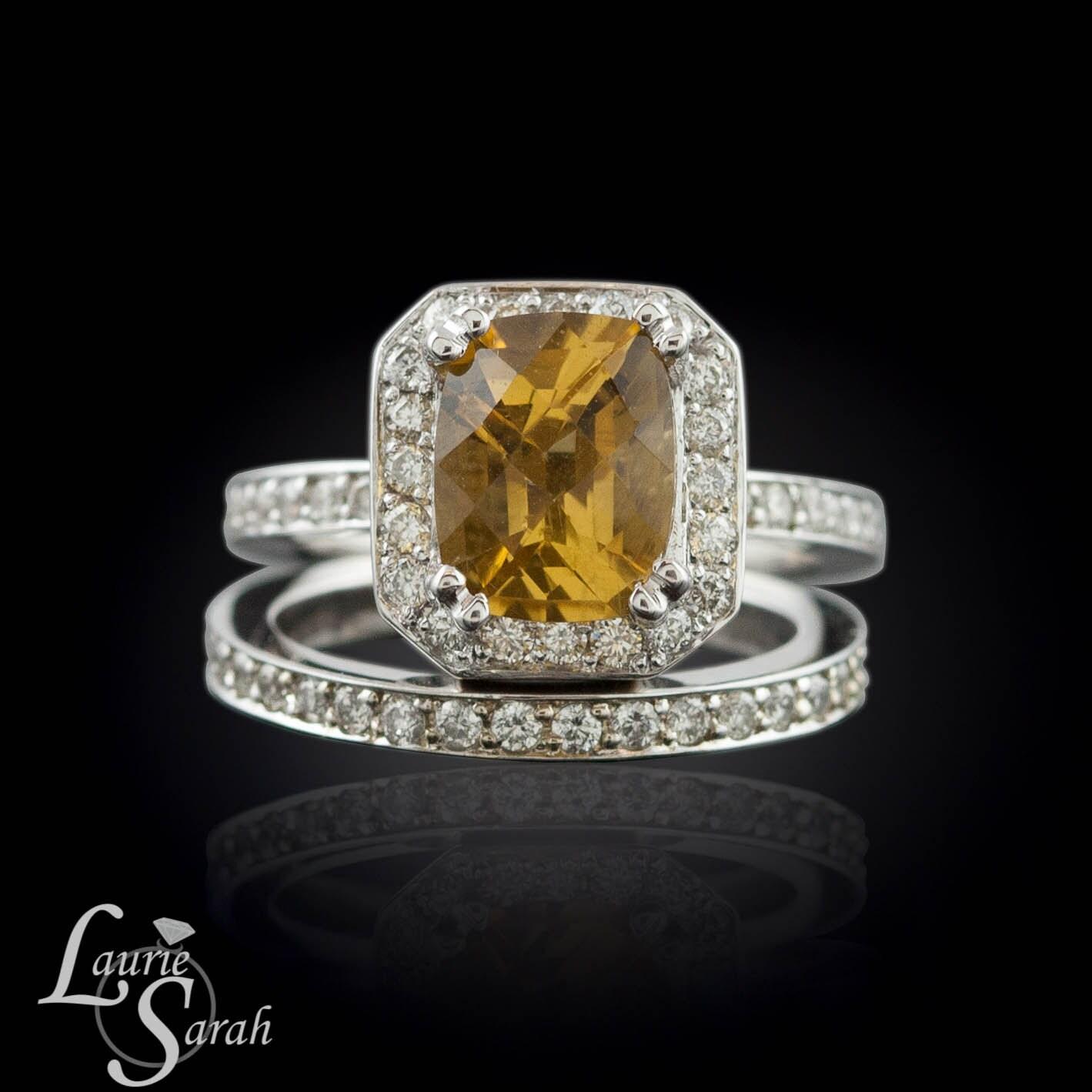 Cushion Cut Engagement Ring Citrine And Diamond Engagement