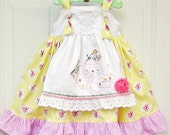 Girls Tea Party Dress Hand Embroidered Apron Knot Dress Toddler