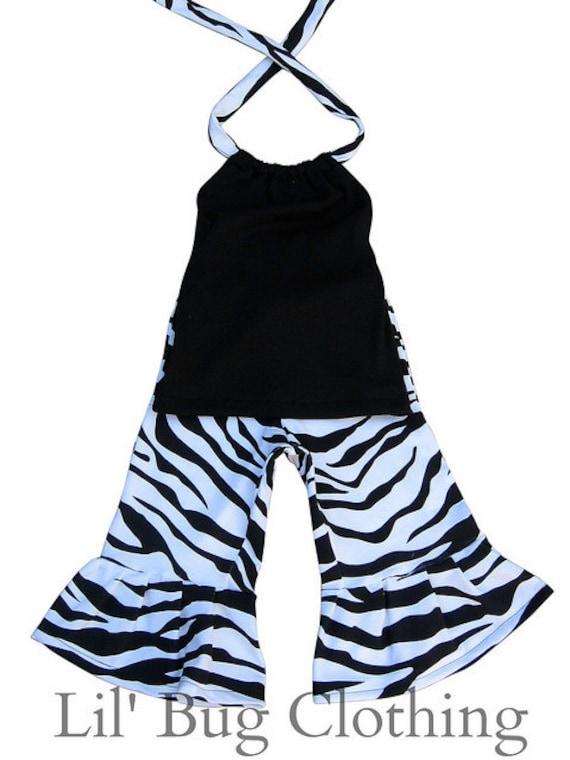 Custom Boutique Black White Zebra Pant Set sizes 3m 6m 9m  12m  18m  24m  2t 3t 4t 5t 6 7 8 9 10  girl