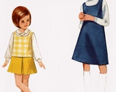 1960s Girls MOD Jumper, Top and Skirt Butterick 4573  60s Vintage Sewing Pattern Size 4 UNCUT