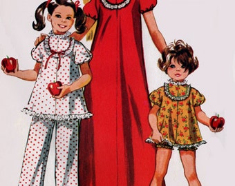1970s Christmas pajamas in Two Lengths or Nightgown Simplicity 9733 Vintage Sewing Pattern Size 6 UNCUT