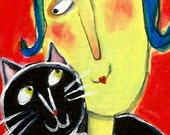 I Got Your Back- Framed original painting, illustration, quirky cat lover, by Murphy Adams