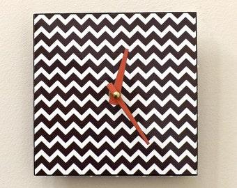 Brown Chevron Clock, Contemporary Clock, Handmade Clock, Functional Art, Wall Clock, Home Decor, Clocks, Modern Clock