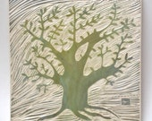 tree of life hand-carved ceramic art tile