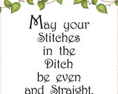 """6"""" x 12"""" Fabric Art Panel - Stitches in the Ditch"""