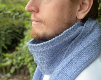10%  coupon code FATHERSDAY- Handwoven  light blue scarf -Men alpaca scarf -Men wool scarf