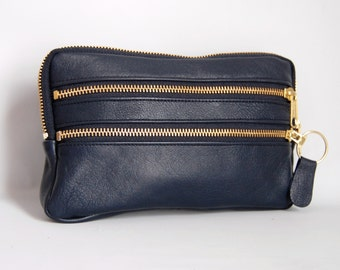 Leather wallet/clutch in navy blue
