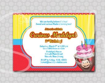 Curious George Birthday Invitation | Digital Download | Monkey Party Ideas | First Second Birthday Invite | Printable Birthday 5x7 Invite