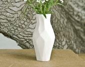 Porcelain Bud Vase with Cut Glass Design