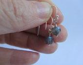 Labradorite Sterling Silver Earrings Faceted Cubes Dangle Flashy Blue
