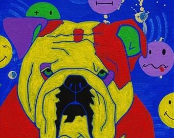 Bulldog Pop Art Print - Retro Dog Art - Smiley Face Design - by dogpopart