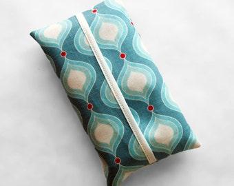 Tissue Holder - Aqua and Red Retro Bulbs