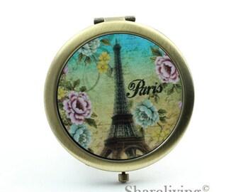 1pcs Eiffel Tower Pocket Mirror, Compact Mirror, Antique Bronze Silver Gold Makeup Mirror, Personalized Mirror - HPM006K
