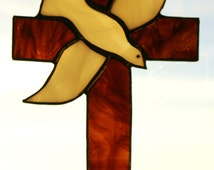 Stained Glass Cross with Dove Suncatcher