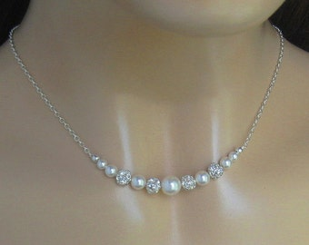 Wedding Jewelry,  Pearl and Crystal Necklace, Bridal Necklace, Fireball and Pearl Necklace, Bridal Jewelry, Wedding Jewelry by JaniceMarie
