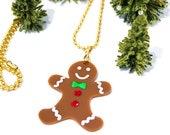 Gingerbread man Pendant  Necklace,Christmas Jewelry