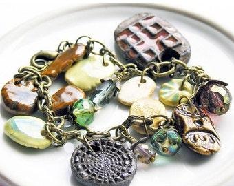 HOLIDAY SALE 35% OFF  - Charm Bracelet Rustic Stoneware Charms Antique Brass Swarovski Crystals Czech Glass