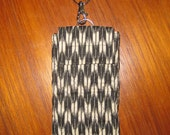 iPhone 6 Quilted Sleeve with Zipper Pocket and Wrist Strap Japanese Asian Fabric Arrow Design Black