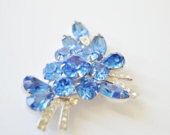 Eisenberg Ice Blue Brooch- Vintage  Rhinestone Pin Royal Blue 6420 Marquise Pear Round Austrian Crystals Clear Gift for Her
