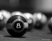 Black and white pool photo, 8 ball, game room decor, eight ball, Billiards decor, pool photo, billiards photo, sports decor, man cave decor