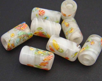 8 pcs vintage large hole beads, white Japanese lampwork glass with multicolor murrine 14mm
