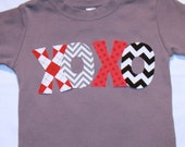 XOXO Boys Valentines Day shirt in sizes 12 18 2 4 6, long or short sleeve gray