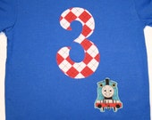 Boys 3rd Birthday Number 3 Train Shirt - Thomas the Tank Engine Train - short sleeve primary blue shirt number 3 in red and white argyle
