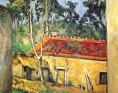 Paul Cezanne - Farmyard in Auvers - Fine Art Print - 1994 Vintage Book Page Reproduction - 13 x 9