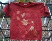 Autumn Leaves Batik & Tie Dye Kids ORGANIC Cotton T-Shirt. Orange, Yellow, Orange, Red. Youth Size Small.