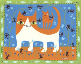 Orange Cat Art Print- White & Ginger Cats with Crows Folk Art - Whimsical Blue and Green Artwork Wall Decor