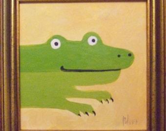 Original Framed Alligator Art Painting . Gator Crocodile Wall Decor, Nursery or Kid's Room
