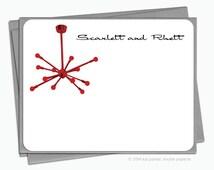 The Sputnik Lamp - Set of 12 Personalized Flat Note Cards + Envelopes - YOU CHOOSE COLOUR