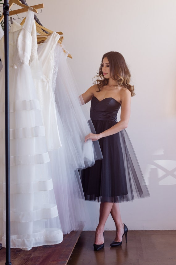 SALE Silk and Tulle sweetheart strapless crossover party dress by Cleo and Clementine
