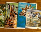 Any 4 Blank Greeting Cards (your choice) Original Mosaics - Greeting Card Set - Set of Notecards - Mosaic Flowers - Tree of Life Sea horse
