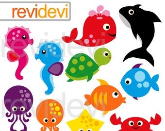 Cute sea animals clip art - Bright Sea Animals clip art - Under the sea clipart digitals, instant download
