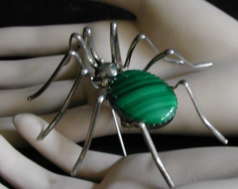 Very Large No Really It's Huge Vintage Sterling Malachite Daddy Long Legs SPIDER Brooch Pin Signed