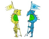 General Blue and General Yellow finally meet - print of original illustration by seth