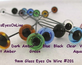 7 PAIR  Glass Eyes on Wire 9mm or 10mm or 11mm or 12mm Teddy Bear, Polymer Clay, Needle Felting, Carving, Sculpture,  ( 201 )