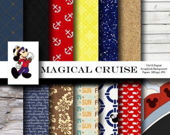 Magical Cruise 12x12 Digital Paper Backgrounds for Digital Scrapbooking -INSTANT DOWNLOAD -