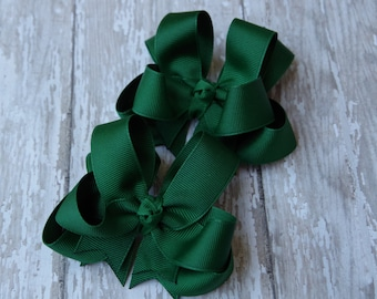 "Girls Hair Bows Hunter Green Boutique 3"" Double Layer Hairbows Set of 2 Pigtail Bows"