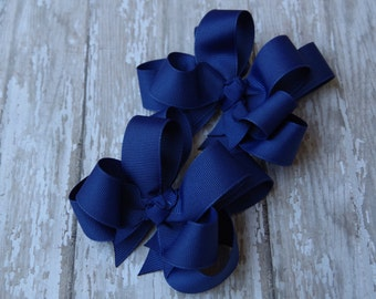 """Girls Hair Bows Royal Blue Boutique 3"""" Double Layer Hairbows Set of 2 Pigtail Bows"""