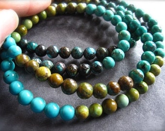 6.5mm smooth polished turquoise semiprecious stone beads - Chinese turquoise - 7 1/4 inches