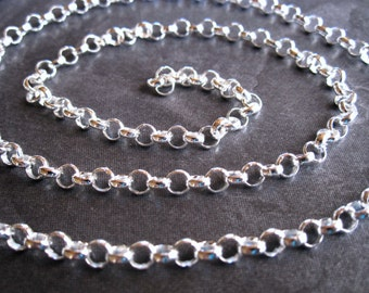 Large Rolo Chain - bright polished - Solid Circle Sterling Silver Chain - 4mm - 1 foot